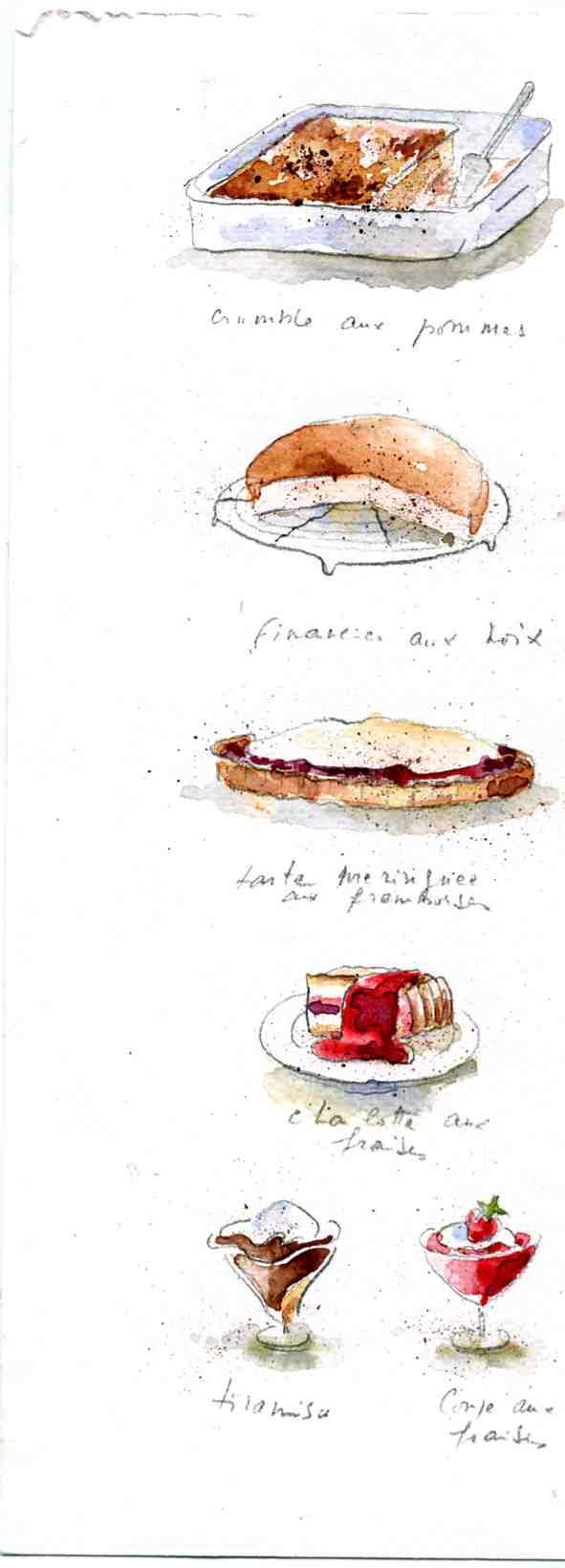 Desserts Aquarelle de Marie José Clerc