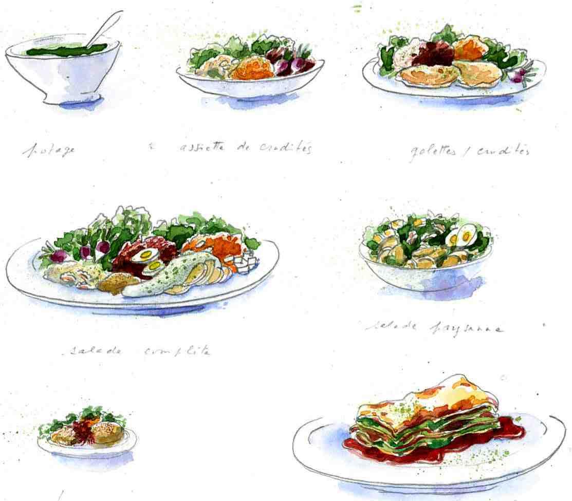 Entrées et plats Aquarelle de Marie José Clerc