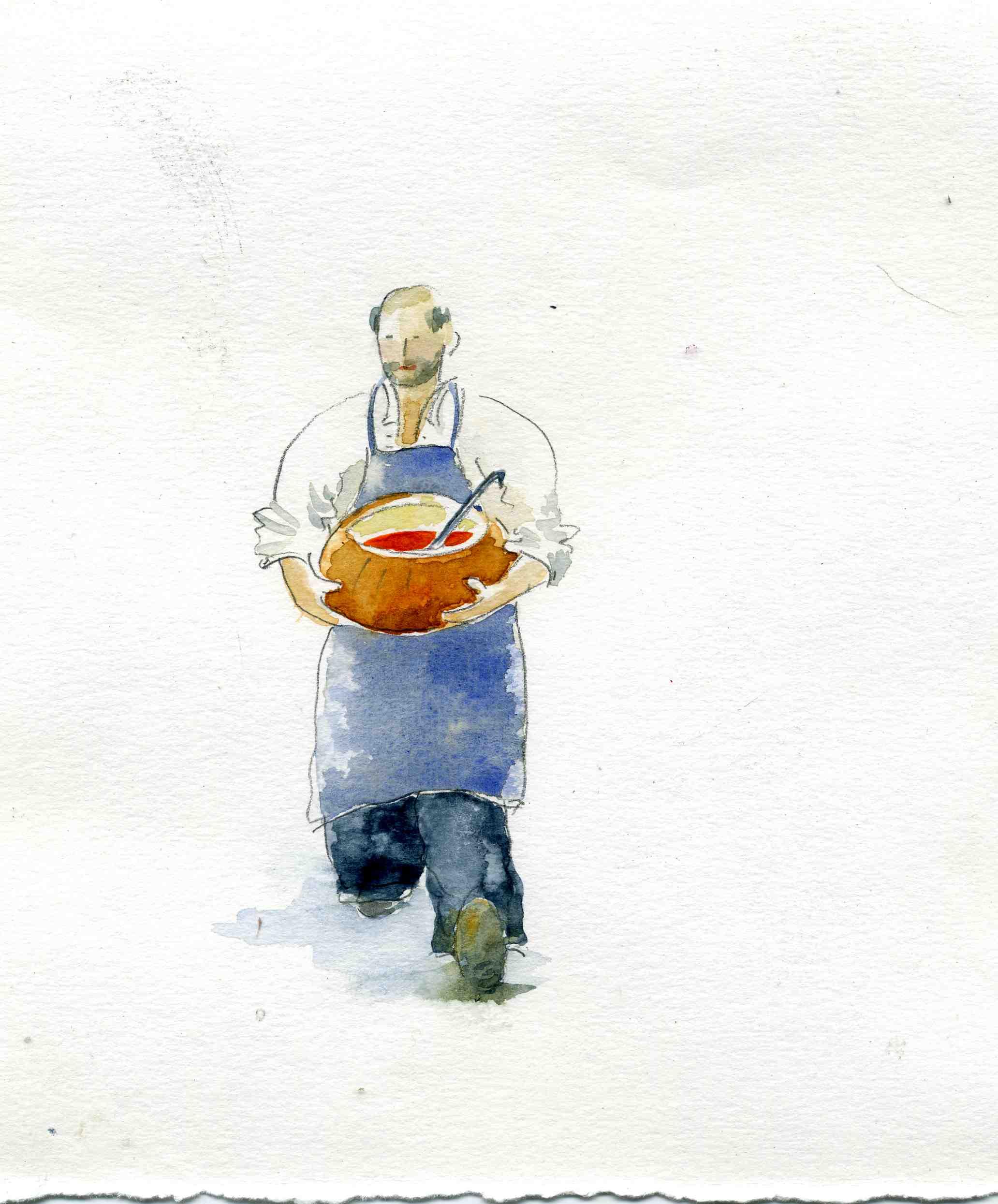 La soupe de potimarron Aquarelle de Marie José Clerc